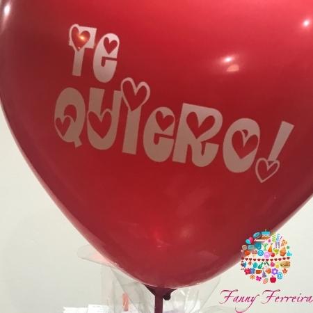 Globo grande corazón con frase Fanny Ferreira Catering